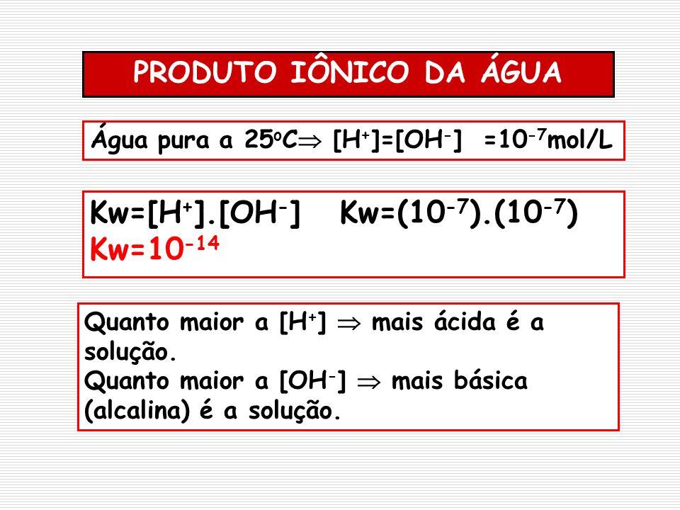 Kw=[H+].[OH-] Kw=(10-7).(10-7) Kw=10-14